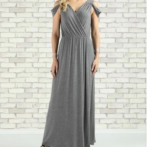 Wrap-Style Maxi Cold-Shoulder Dress